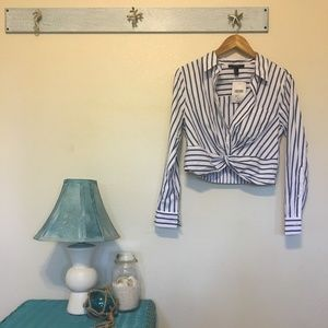 NWT - Striped Forever 21 Cropped Button Down